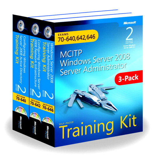 Windows Server 2008 Server Administrator Training Kit 3-Pack Exams 70-640, 70-642, 70-646 (MCITP)